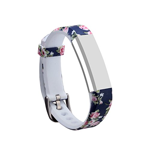 I-SMILE Newest Replacement Wristband with Secure Clasps for Fitbit Alta Only(No Tracker, Replacement Bands Only) (Blue Flowers)