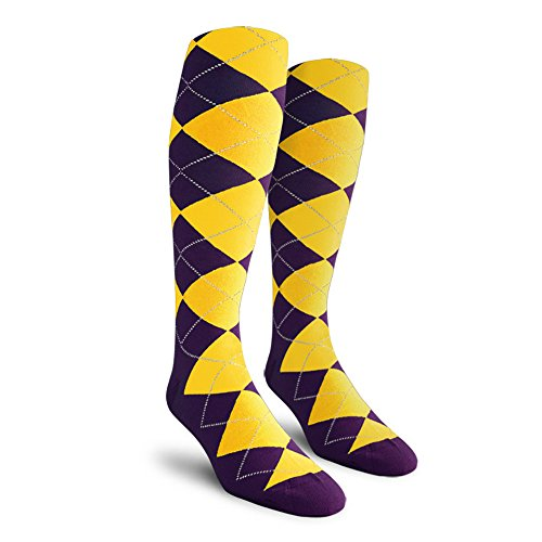 (Argyle Golf Socks: Over-the-Calf - Purple/Yellow - Mens)