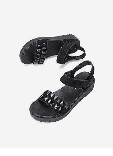de Verano de Color S Moda Dulces Sandalias de Zapatillas Mujer de Ocasionales Sandalias Sandalias de Punta Planas DHG XRqtZFx