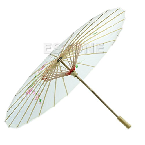 Painted Hand Umbrellas (UJuly Grace Handmade Chinese Traditional Oil Paper Umbrella with Bamboo Hand Grip Painted Parasol for Wedding Dance Party Art Decoration (White))