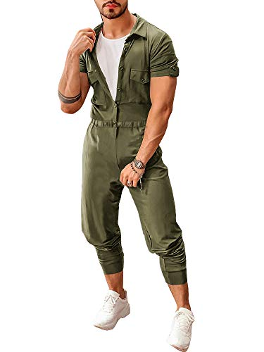 Makkrom Mens Romper Button Down Short Sleeve One Piece Jumpsuit Drawstring Casual Coverall with Pockets Army Green ()