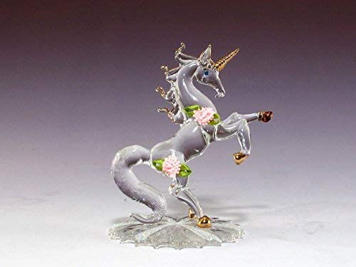 (DAR Giftware Blown Glass Unicorn with Satin Roses Figurine Collectible 4.25 Inches Tall)
