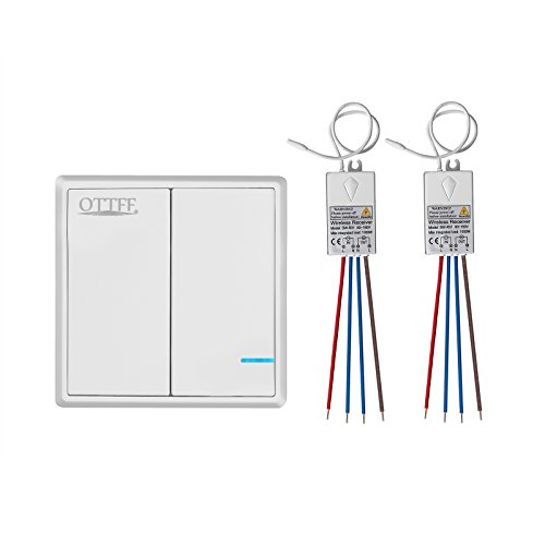 2 Way Wireless Lights Switch with Receiver - Remote Multiunit House Lighting Lamps - Quick Create or Relocate On/off No Wiring Switches Panel - Outdoor 1900ft Indoors 160ft