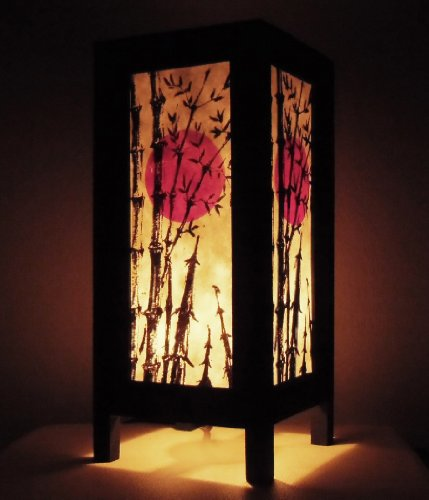 Thai Vintage Handmade ASIAN Oriental Japanese Bamboo Trees Bedside Table Lanna Paper Lamp Wood Shades Lights Home Decor Bedroom Decoration by Red berry Thailand Lanna Lamp