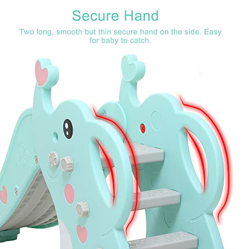 WenStorm Slide for Boys Girls Indoor Outdoor Backyard Use First Slide Playground Plastic Play Slide Climber with Basketball Hoop Elephant Sky Blue by WenStorm (Image #1)