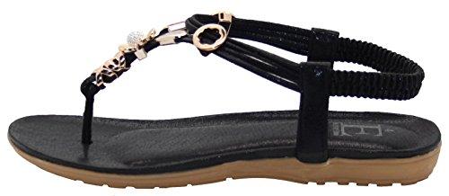 Emma Shoes Ladies Sling Back Opium Toe Post Sandals Black cIdKN
