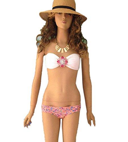 JJ-GOGO White Beach Sexy Jeweled Bandeau and Side-ruched Bikini Sets ()