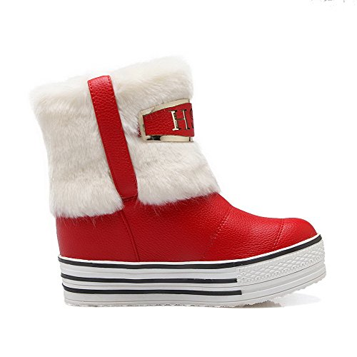AgooLar Damen PU Mittler Kalb Rein Ziehen auf Niedriger Absatz Stiefel Rot