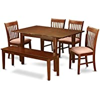 East West Furniture MLNO6C-MAH-C 6-Piece Dinette Table Set