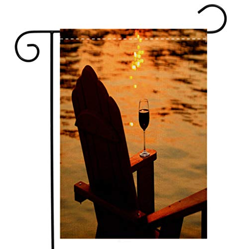 BEIVIVI Creative Home Garden Flag Adirondack Chair and Wine at Sunset by Lake Welcome House Flag for Patio Lawn Outdoor Home Decor ()