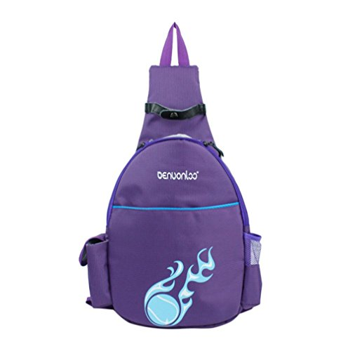 Klau Tennis Racquet Backpack, Nylon Tennis Racket Cover Outdoor Sports Bag Purple for Children Teenagers Tennis Beginners ()