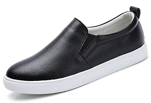 TSIODFO Women's Loafers Flats Shoes Genuine Cow Leather Comfort Moccasins Slip On Fashion Sneakers (505-Black-40) ()