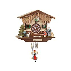 German Quartz Swinging Doll Clock Heidi's Chalet, Miniature 6.5 Inch
