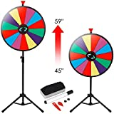 """HomGarden 24"""" Color Prize Wheel w/Adjustable Stand 14 Slots Tabletop Editable Classic Spinning Win Prize Wheel Fortune Carnival Spin Game Casino Equipment"""