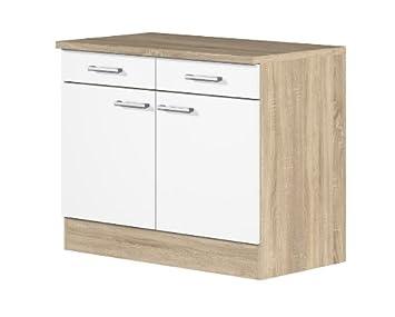 smartmoebel Küchen Unterschrank 100 cm breit Weiß Sonoma Eiche ...