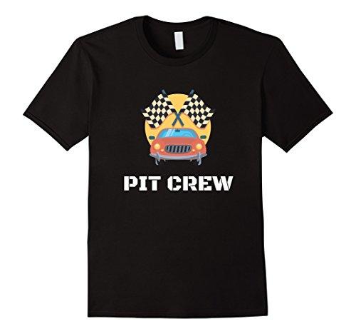 Race Themed Costumes (Mens Pit Crew T-Shirt Hosting Race Car Parties Flag Kids Parents 3XL Black)