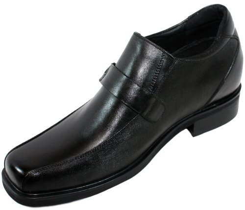calto–G513358,1cm größer die Höhe Steigerung Aufzug Schuhe (schwarz Mönch Schnalle Knopfleiste)