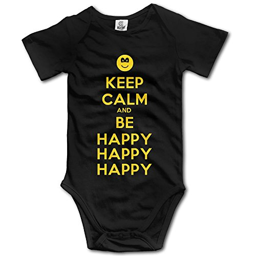 Librarian Costume Props (Unisex Baby Keep Calm And Be Happy Short Sleeve One-Piece Tank Shortie Romper 6 M)