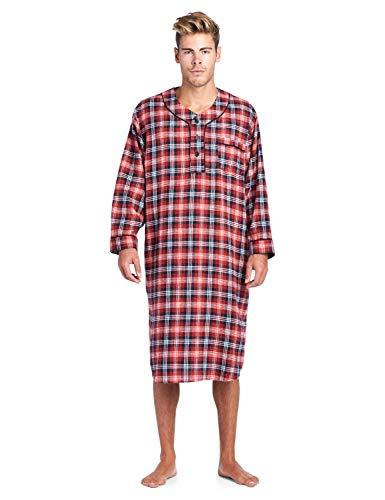 (Ashford & Brooks Mens Flannel Plaid Long Sleep Shirt Henley Nightshirt - Burgundy/Navy/Ivory -)