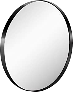 Grail 26 Inch Wall Mirror with Coating Steel Frame Wall Mounted Round Big Mirror Rusty-Free for Home Decorative Living Room Washroom Entryway Hanging