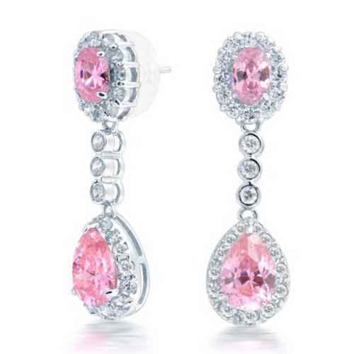 Bling Jewelry Crown CZ Simulated Pink Topaz Teardrop Chandelier Earrings Rhodium Plated Brass (Topaz Earring Pink Dangling)