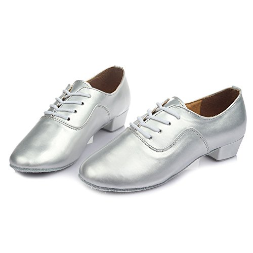 Shoes Tango Leather Ballroom Silver Roymall Dance Jazz Latin Performance Shoes 2 Waltz Professional Mens 8WqSP