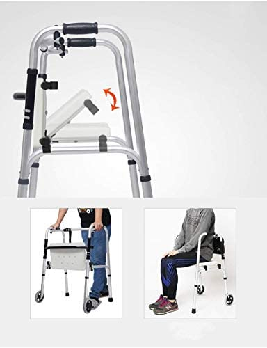 歩行器介護 座れる高齢者 四足歩行スティック滑りにくいウォーキングスティックで病院高齢ウォーカー 移動・歩行支援歩行器 (Color : Pulley)