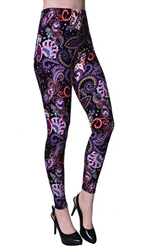 - VIV Collection Regular Size Printed Brushed Leggings (Purple White Dreamy Paisley)