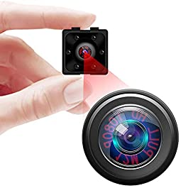 Mini Spy Camera, Full HD 1080P Hidden Camera, Covert Security Nanny Cam with Motion Detection and Night Vision for Home, Office and Outdoor Use