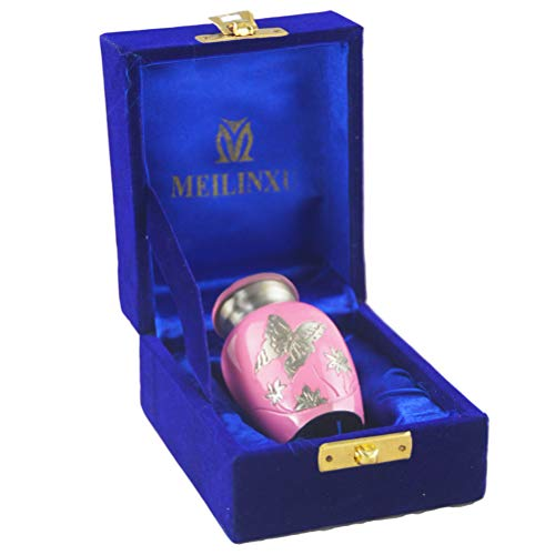 M MEILINXU Keepsake Urn, Brass Mini Funeral Cremation Urns for Human Ashes Adult - Hand Engraved - Fits a Small Amount of Cremated Remains - Display Burial Urn at Home or Office (Pink Butterfly]()