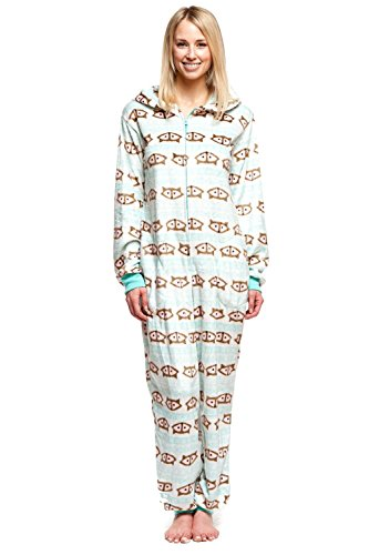 Huggable Body (Women's Body Candy Adult Onesie Hooded Huggable Plush One Piece Pajama Fox Large)