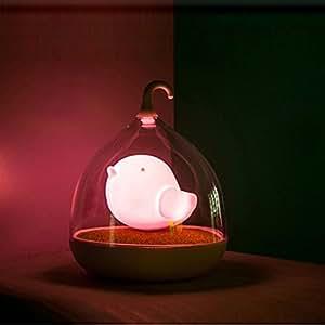 TRENDINAO Children's Night Lights Hand-held Design Touch Sensor Vibration Birdcage Lamp Bird Night Lights - Charging - for Kids, Baby, Valentines Gift, Outdoor Lamp (Pink)