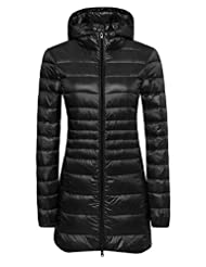 Wantdo Women's Lengthed Hooded Down Jacket Light Down Outwear Coat
