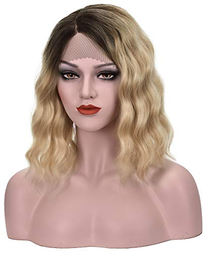 Ombre Ash Blonde Lace Front Wig for Women Short Blonde Lace Wavy Wig Ombre Blonde Wig With Dark Brown Roots Daily Wear Wob Hair (Wavy Bob Hair) (Ash Blonde, 12Inch) (Ombre Hair Brown To Blonde Medium Length)