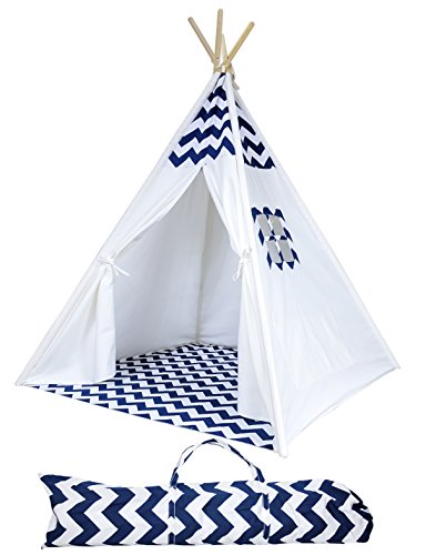 A Mustard Seed Toys Chevron Teepee Tent for Kids - Portable Cotton Canvas Tent with Carrying Case, Makes a Great Indoor Playhouse (Navy) (Seeds That Wash Up On The Beach)