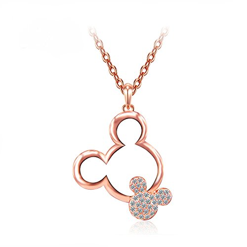(Mall of Style Mickey Mouse Necklace Women Girls - Rose Gold Jewelry - Trendy Teenage Character Pendant)