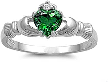Irish Claddagh Simulated Emerald Heart Ring Sizes 3-12