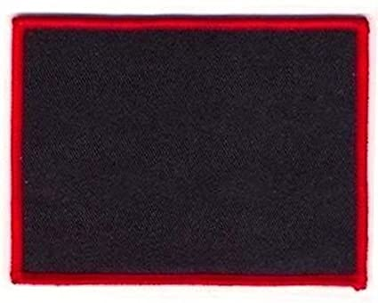 Blank Patch 4x3 Black Background Red Border with Heat Seal Back BLA-0037