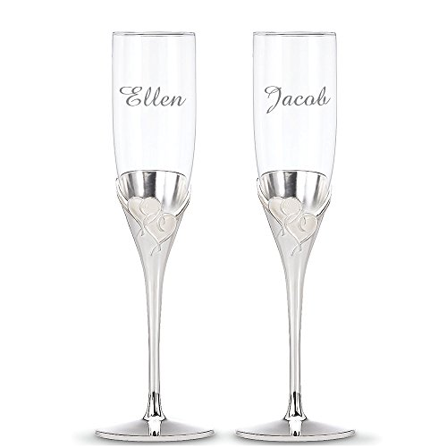 (Custom Lenox True Love Champagne Flute Pair, Set of 2 Flutes, Personalized True Love Toasting Flutes, Personalized Wedding Flutes, Monogrammed Flute, Crystal Champagne Flutes, Silverplate Heart Flutes)