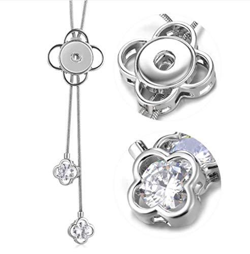 My Prime Gifts Snap Jewelry Rhinestone Adjustable Sliding Lariat Necklace Length 32