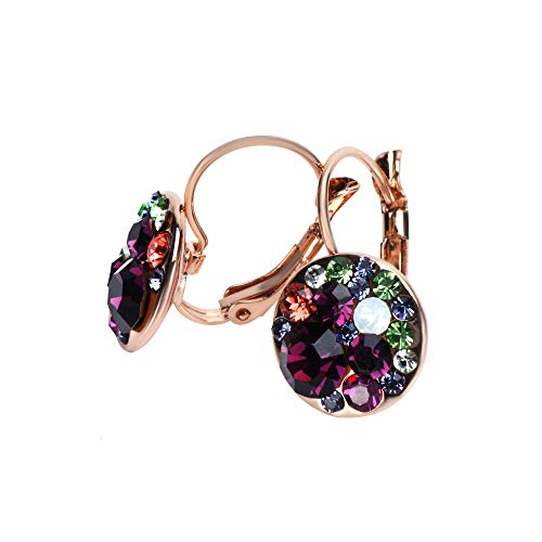 UPSERA Colorful Dangle Leverback Earrings for Women Made with Swarovski Crystals 18k Rose Gold Plated Fashion Drop Jewelry Gift for Her Amethyst Purple (Color 14k Multi Sapphire)