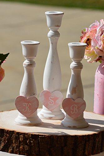 (Rustic Unity Candle Holders, Wood Wedding Unity Candle Set, Wedding Ceremony Decor, set of 3)