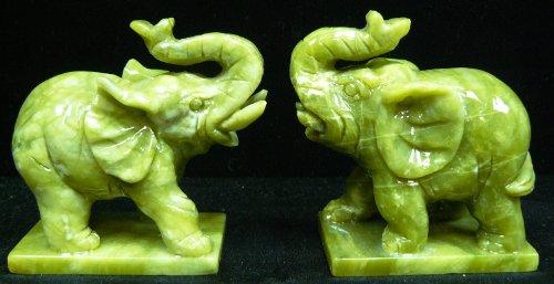 Pair of Jade Elephants F1186
