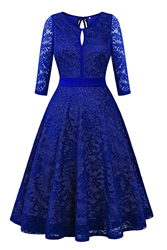 BBX Lephsnt Cocktail Dress for Women Sexy Floral Lace Bridesmaid Party Dress Sleeveless/ 3/4 Sleeve Formal Dress