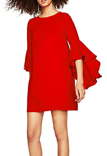 Forest Kiss Women's Crew Neck 3/4 Flare Bell Sleeve Casual Tunic Blouse Mini Shift Dress with Keyhole Back Red - Dress Shift Mini