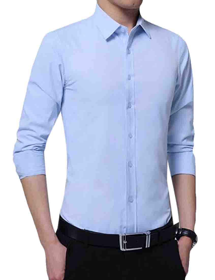 S-Fly Mens Casual Long Sleeve Regular Fit Solid Business Button Down Dress Shirts