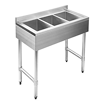 SUNCOO 3 Compartment NSF Stainless Steel Commercial Kitchen Bar Sink  37 7/8u0026quot;