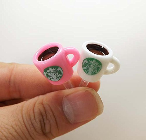 - ZOEAST White Pink Black Purple Coffee Cup Dust Plug 3.5mm Phone Headphone Jack Earphone Cap Ear Cap Dust Plug Charm iPhone 4 4S 5 5S SE 6 6S Plus HTC Samsung IPad iPod etc. (Pink+White Cup)