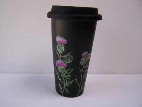 Thistle Ceramic (Black Double-walled Ceramic Travel Mug with Scottish Thistle)