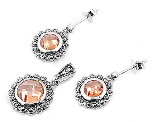 (Round Halo Earrings Champagne CZ Marcasite .925 Sterling Silver Pendant Set)